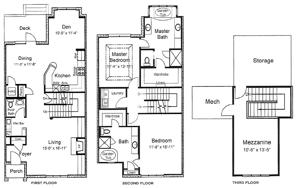 3 story house floor plans for 5 bedroom townhouse floor plans
