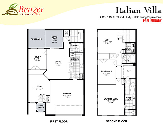 Sumerlin at bartram park townhomes and terrace homes in for Italian villa floor plans